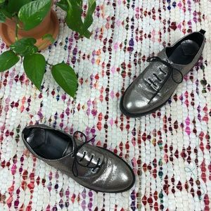 Stradivarius Metallic Silver Brogue Oxford Shoes